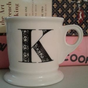 Anthropologie monogrammed script coffee tea mug